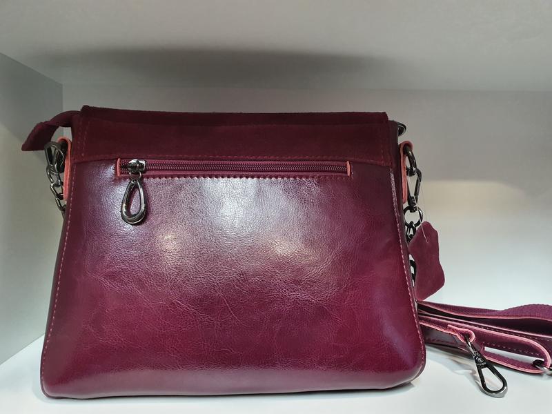 Женская сумочка- клатч из натурального замша и натуральной кожи - Фото 3