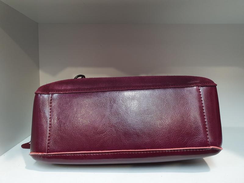 Женская сумочка- клатч из натурального замша и натуральной кожи - Фото 4