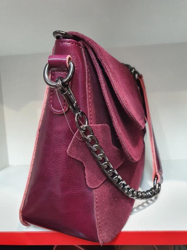 Женская сумочка- клатч из натурального замша и натуральной кожи - Фото 5