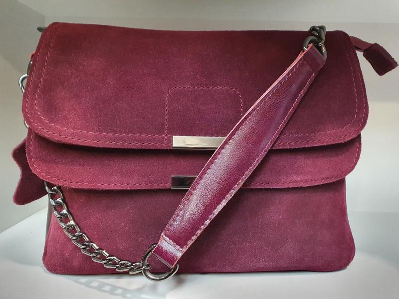 Женская сумочка- клатч из натурального замша и натуральной кожи - Фото 8