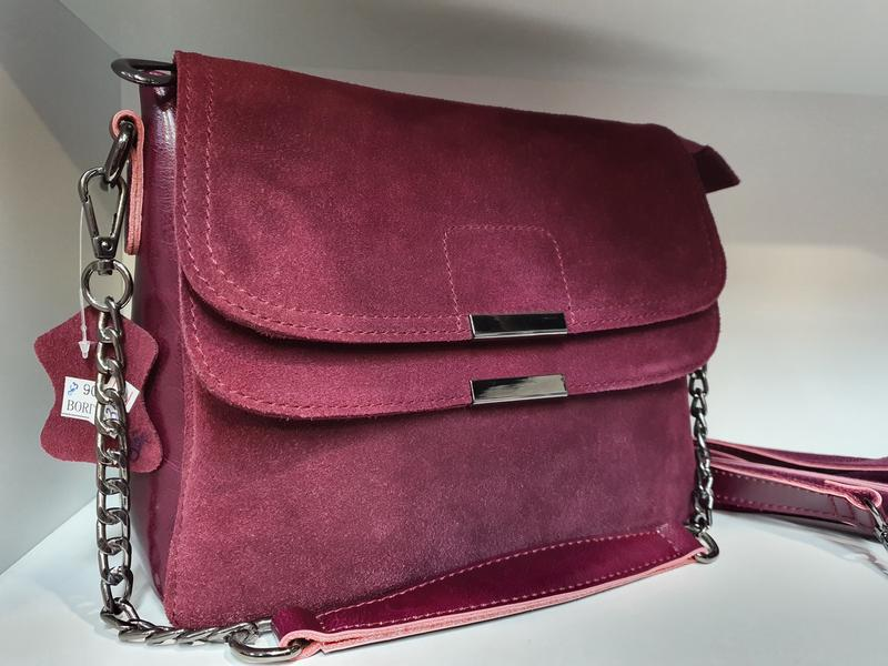 Женская сумочка- клатч из натурального замша и натуральной кожи - Фото 10