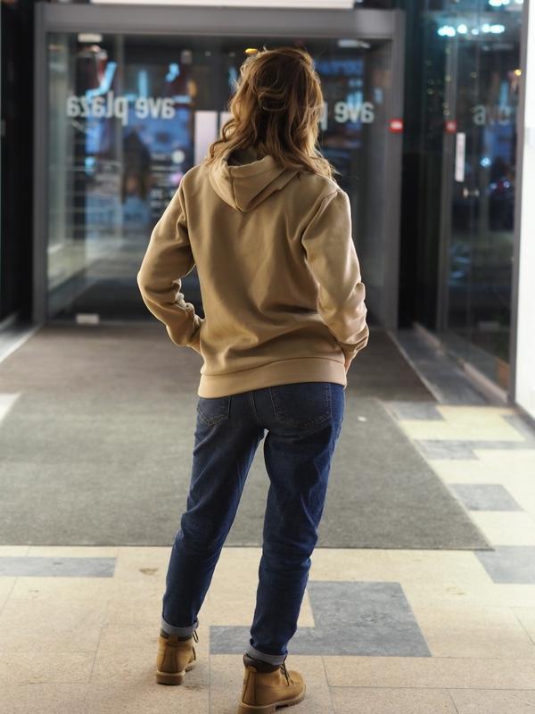 Утепленное худи бежевое, женская толстовка - Фото 2