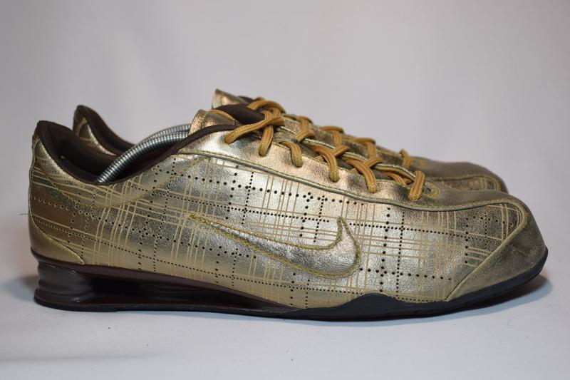Кроссовки nike rival shox gold кожаные. оригинал. 44 р./ 28.5 см. - Фото 2