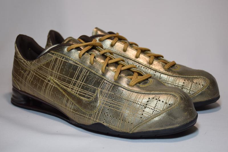 Кроссовки nike rival shox gold кожаные. оригинал. 44 р./ 28.5 см. - Фото 3
