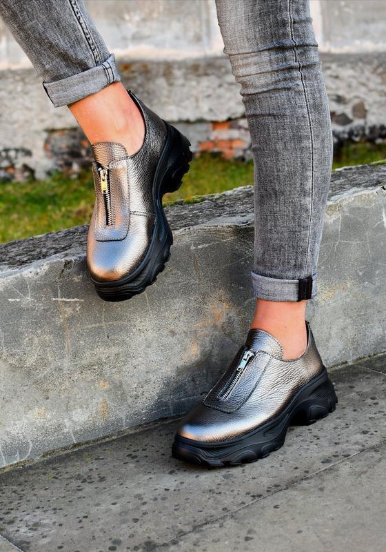 Туфли на молнии натуральная кожа