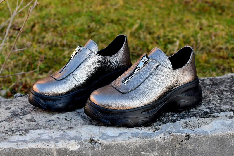Туфли на молнии натуральная кожа - Фото 2