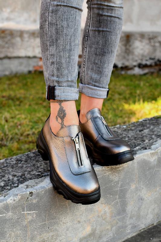 Туфли на молнии натуральная кожа - Фото 3