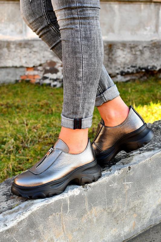 Туфли на молнии натуральная кожа - Фото 5