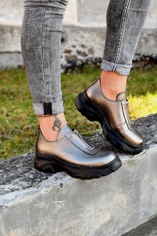 Туфли на молнии натуральная кожа - Фото 6