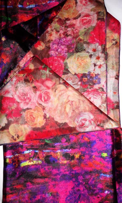 Шелковый платок палантин 100% шелк 100см х 100см плотный