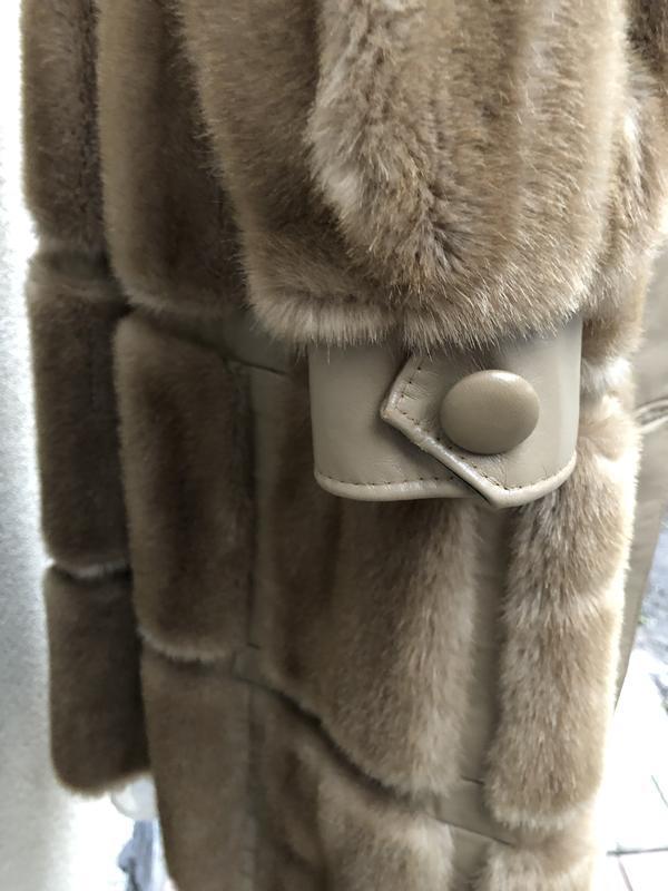 Англия,кожа пальто,мех под норку,кожа,шуба,винтаж,ретро стиль,... - Фото 2