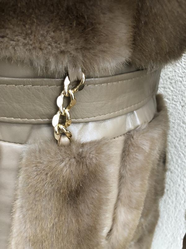Англия,кожа пальто,мех под норку,кожа,шуба,винтаж,ретро стиль,... - Фото 3