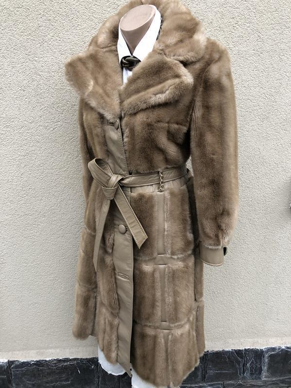 Англия,кожа пальто,мех под норку,кожа,шуба,винтаж,ретро стиль,... - Фото 5