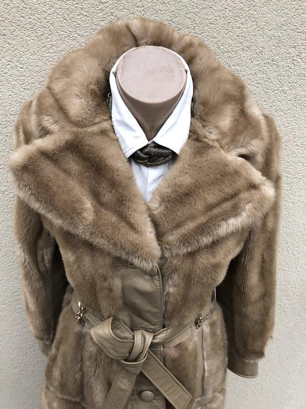 Англия,кожа пальто,мех под норку,кожа,шуба,винтаж,ретро стиль,... - Фото 7