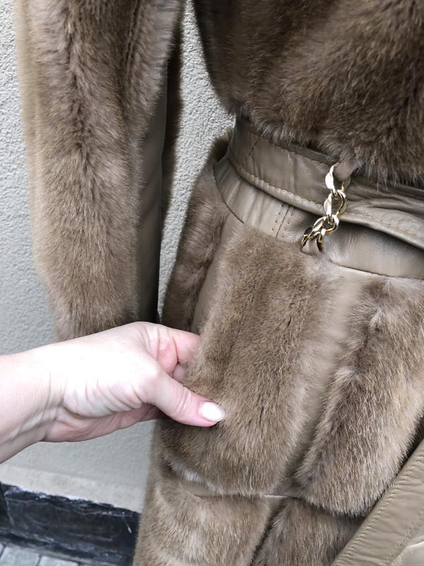 Англия,кожа пальто,мех под норку,кожа,шуба,винтаж,ретро стиль,... - Фото 8