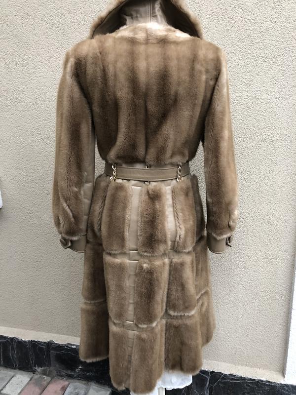 Англия,кожа пальто,мех под норку,кожа,шуба,винтаж,ретро стиль,... - Фото 9