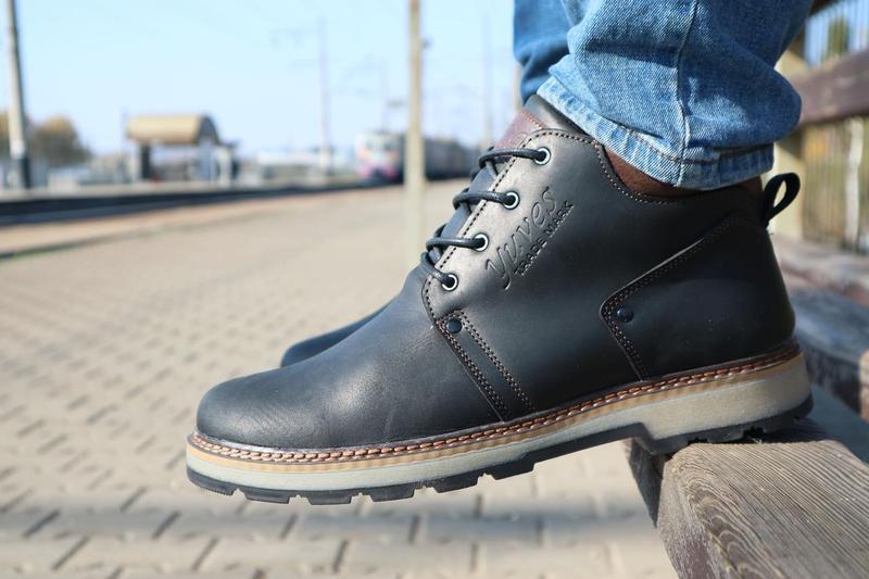 Мужские ботинки кожаные зимние черные-матовые yuves 781 - Фото 2
