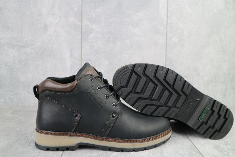 Мужские ботинки кожаные зимние черные-матовые yuves 781 - Фото 3