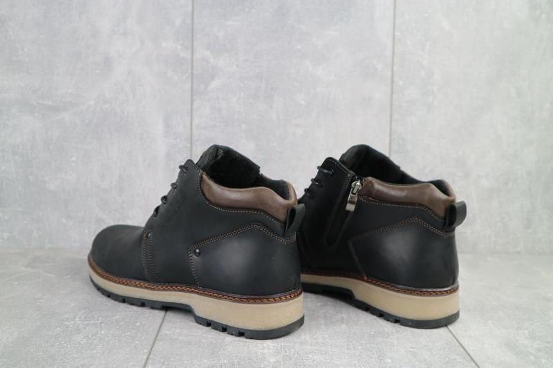 Мужские ботинки кожаные зимние черные-матовые yuves 781 - Фото 4