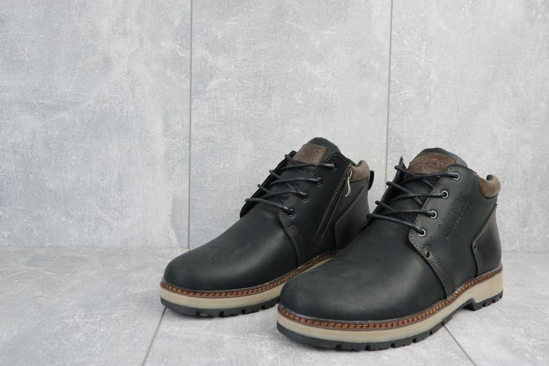 Мужские ботинки кожаные зимние черные-матовые yuves 781 - Фото 5