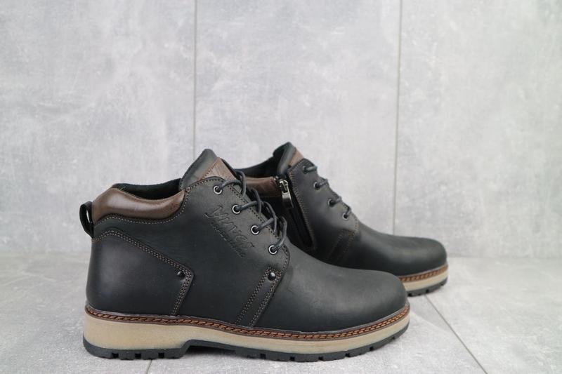 Мужские ботинки кожаные зимние черные-матовые yuves 781 - Фото 6