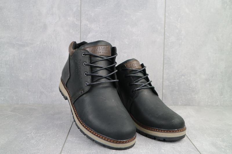 Мужские ботинки кожаные зимние черные-матовые yuves 781 - Фото 7