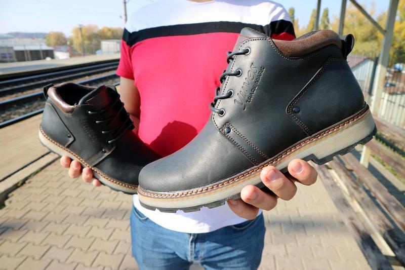 Мужские ботинки кожаные зимние черные-матовые yuves 781 - Фото 8