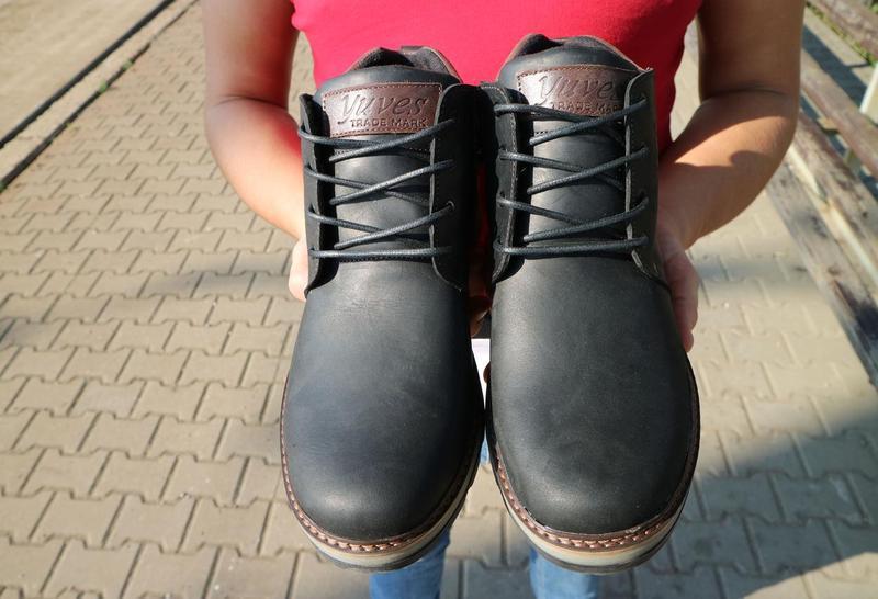Мужские ботинки кожаные зимние черные-матовые yuves 781 - Фото 9