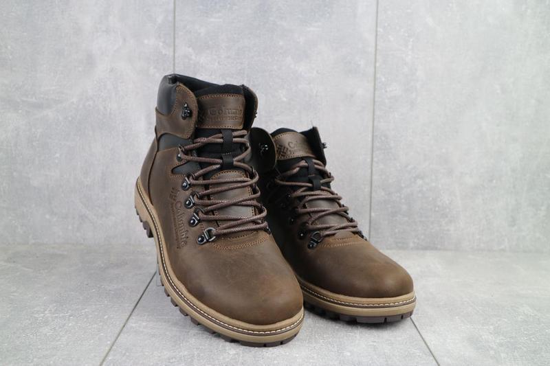 Мужские ботинки кожаные зимние коричневые-матовые yuves 700