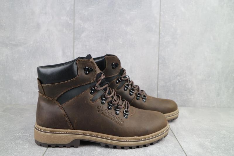 Мужские ботинки кожаные зимние коричневые-матовые yuves 700 - Фото 2