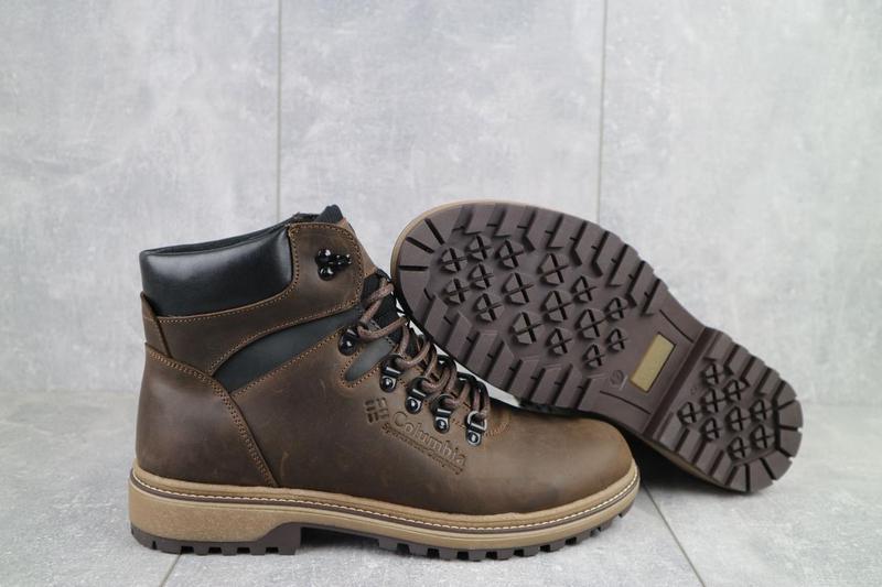 Мужские ботинки кожаные зимние коричневые-матовые yuves 700 - Фото 3