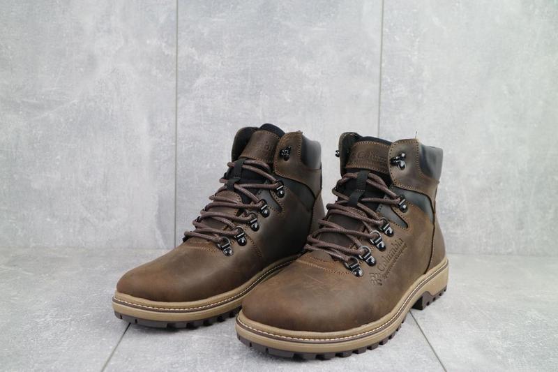 Мужские ботинки кожаные зимние коричневые-матовые yuves 700 - Фото 4