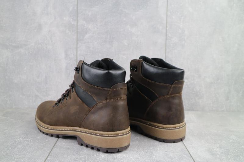Мужские ботинки кожаные зимние коричневые-матовые yuves 700 - Фото 5