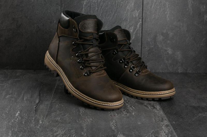 Мужские ботинки кожаные зимние коричневые-матовые yuves 700 - Фото 6