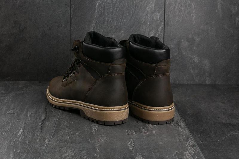 Мужские ботинки кожаные зимние коричневые-матовые yuves 700 - Фото 8
