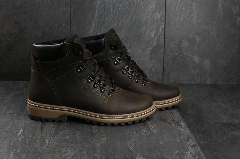 Мужские ботинки кожаные зимние коричневые-матовые yuves 700 - Фото 9