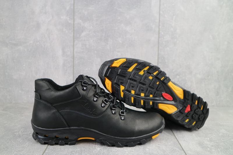 Мужские ботинки кожаные зимние черные-матовые yuves 501 - Фото 2