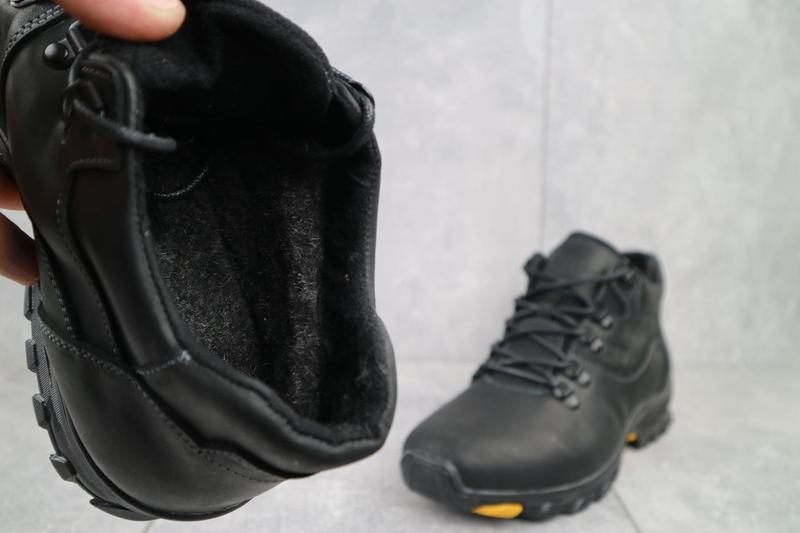 Мужские ботинки кожаные зимние черные-матовые yuves 501 - Фото 3