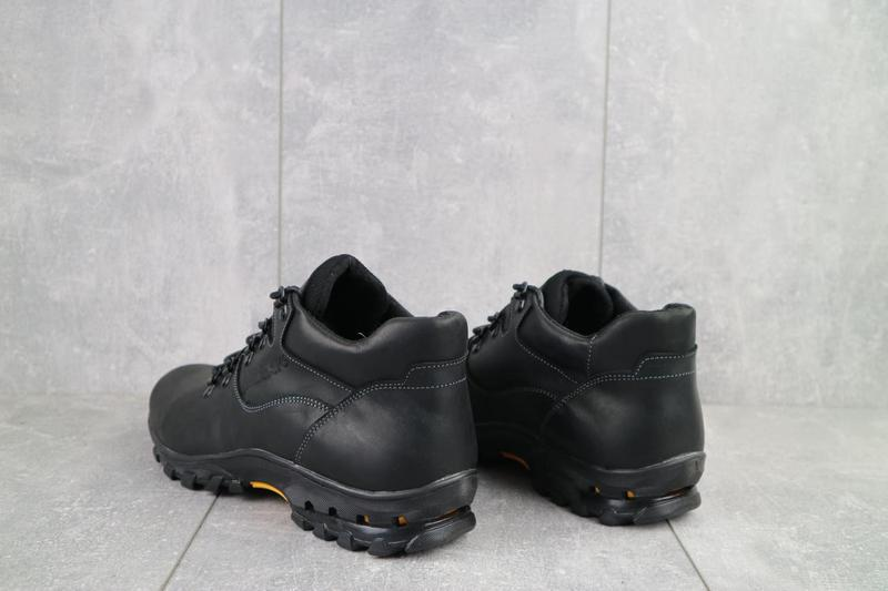 Мужские ботинки кожаные зимние черные-матовые yuves 501 - Фото 4