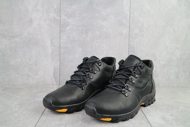 Мужские ботинки кожаные зимние черные-матовые yuves 501 - Фото 5