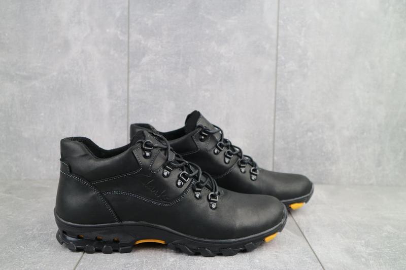 Мужские ботинки кожаные зимние черные-матовые yuves 501 - Фото 6