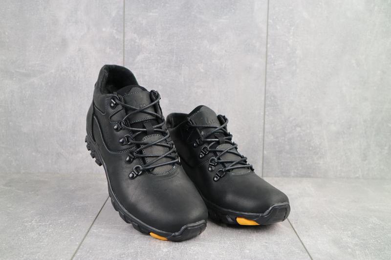 Мужские ботинки кожаные зимние черные-матовые yuves 501 - Фото 7