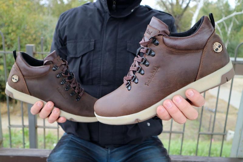 Мужские ботинки кожаные зимние коричневые-матовые yuves 773 - Фото 4
