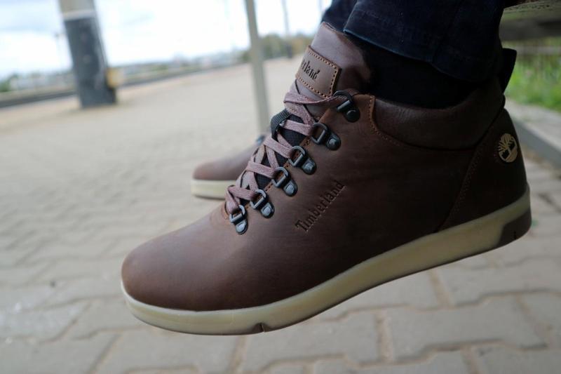 Мужские ботинки кожаные зимние коричневые-матовые yuves 773 - Фото 5