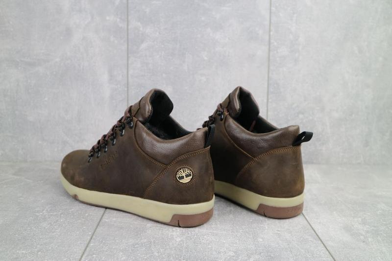Мужские ботинки кожаные зимние коричневые-матовые yuves 773 - Фото 7