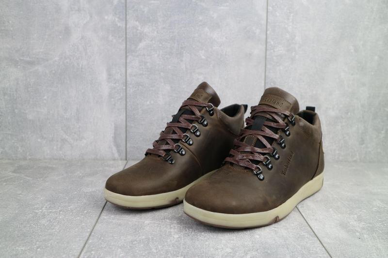 Мужские ботинки кожаные зимние коричневые-матовые yuves 773 - Фото 8