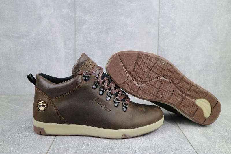 Мужские ботинки кожаные зимние коричневые-матовые yuves 773 - Фото 9