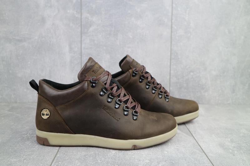 Мужские ботинки кожаные зимние коричневые-матовые yuves 773 - Фото 10