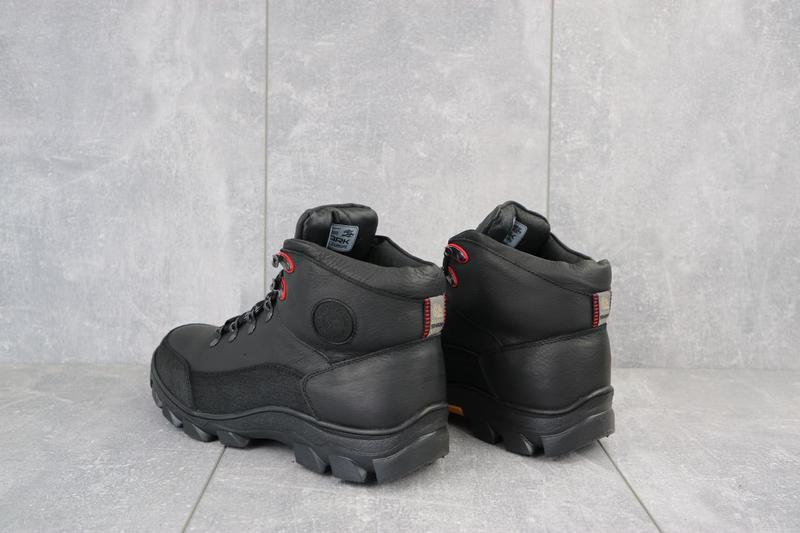 Мужские кроссовки кожаные зимние черные shark b 194 - Фото 2