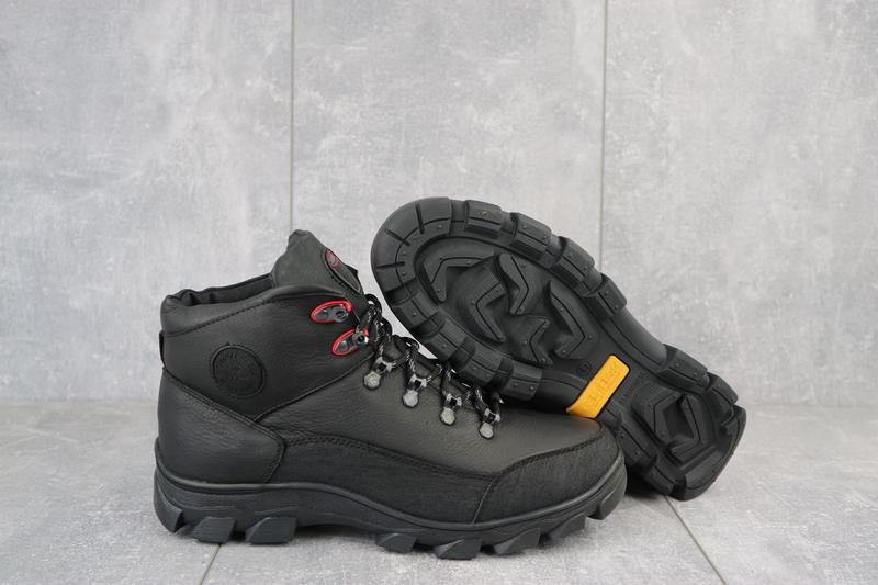 Мужские кроссовки кожаные зимние черные shark b 194 - Фото 4